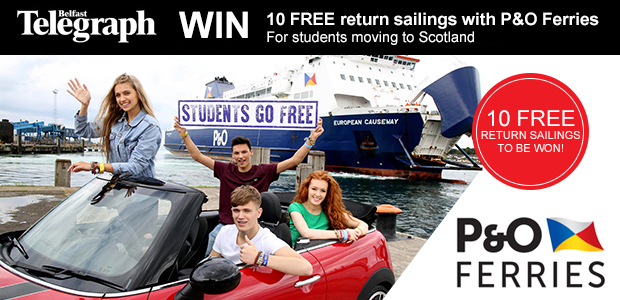 10 Free Student Sailings with P&O Ferries from Larne to Cairnryan to be won!